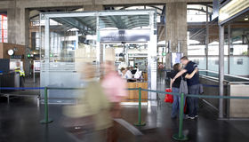 Boarding area at railway station. Stock Photo
