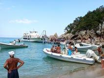 Free Boarding Boats At Cala Luna Beach Stock Image - 58528651