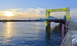 Boarding bridge at sundown Stock Images