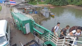 Boarding ferry boat at Koh Chang, Thaland stock video