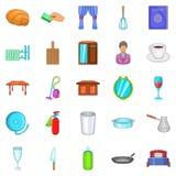 Boarding house icons set, cartoon style Royalty Free Stock Photos
