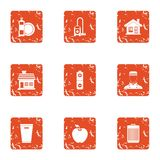 Boarding house icons set, grunge style. Boarding house icons set. Grunge set of 9 boarding house vector icons for web isolated on white background royalty free illustration