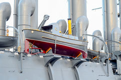 Boarding the old armored cruiser. Royalty Free Stock Photography