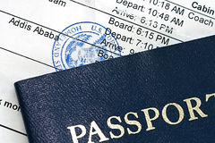 Boarding Pass. Airline boarding pass with public seal of Homeland Security Stock Image