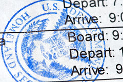Boarding Pass. Airline boarding pass with public seal of Homeland Security Royalty Free Stock Photo
