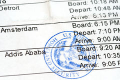 Boarding Pass. Airline boarding pass with public seal of Homeland Security Royalty Free Stock Image