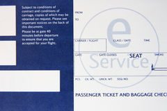 Boarding pass. The boarding pass close-up Stock Photo
