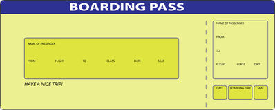 Boarding Pass. Yellow blank Boarding Pass. This is illustration Stock Photography