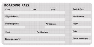 Boarding pass. Blank boarding pass with relevant flight and airport information Royalty Free Stock Photography