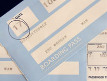 Boarding pass. Cards closeup Royalty Free Stock Image
