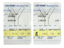 Boarding pass. Cards isolated on white Royalty Free Stock Photography
