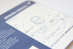 Boarding pass. One boarding pass close-up Stock Photos