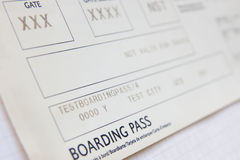 Boarding pass. The boarding pass close-up Royalty Free Stock Photography