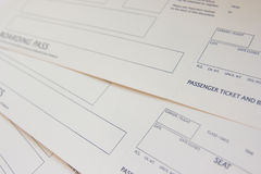 Boarding pass. Blank boarding pass close-up Stock Photo
