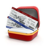 Boarding pass air tocket in gift box. Stock Photo