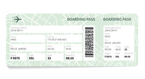 Boarding pass. Airline boarding pass ticket with a map as a background. Vector illustration Royalty Free Stock Photo