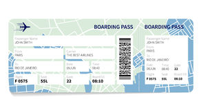 Boarding pass. Airline boarding pass ticket with a map as a background. Vector illustration Stock Images