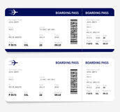 Boarding pass. Airline boarding pass ticket for traveling by plane. Vector illustration Royalty Free Stock Images