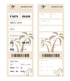 Boarding pass. Airline boarding pass ticket for traveling by plane. Vector illustration Stock Images
