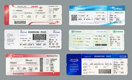 Free Boarding Pass And Plane Ticket, Vector Mockups Royalty Free Stock Photography - 160625057