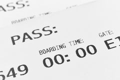 Boarding pass cards detail. Travel background. Tourist. Royalty Free Stock Photos