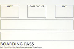 Boarding pass close-up. Blank boarding pass close-up Stock Photo