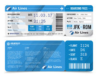 Boarding Pass Composition. Colored realistic boarding pass composition with information about passenger on the front side and the back vector illustration Stock Images