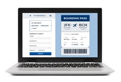 Boarding pass concept on laptop screen isolated. Boarding pass concept on laptop computer screen. Isolated on white background. All screen content is designed by stock image