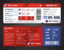 Boarding Pass Design Composition. Colored and realistic boarding pass design composition with name of airline time and name on ticket vector illustration Stock Photos