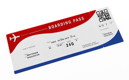 Boarding pass with fictitious numbers and names. 3D illustration.  Royalty Free Stock Photography