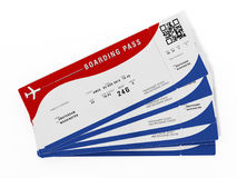 Boarding pass with fictitious numbers and names. 3D illustration.  Royalty Free Stock Photos