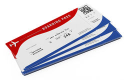 Boarding pass with fictitious numbers and names. 3D illustration.  Royalty Free Stock Photo