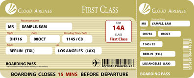 Boarding Pass First Class Royalty Free Stock Image