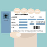 Boarding pass in hand Royalty Free Stock Photo