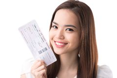 Boarding pass. Happy Asian woman with a boarding pass Stock Image