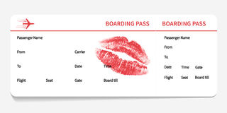 Boarding pass with kiss Royalty Free Stock Image