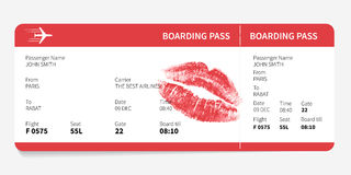 Boarding pass with kiss Stock Image