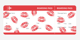 Boarding pass lips Stock Photography
