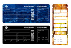Boarding pass. Set of airline boarding pass tickets on whihe background. Vector illustration Stock Image