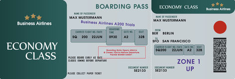 Boarding pass template stock illustration