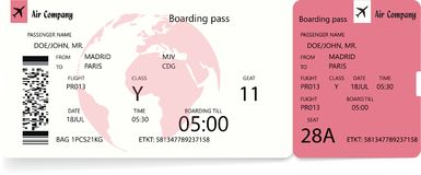 Boarding pass ticket template. Airplane ticket. Boarding pass ticket template. Vector illustration in red or rose colors stock illustration