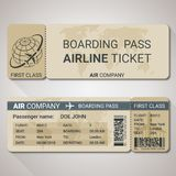 Boarding pass ticket template for a plane from two sides with passenger name and destination route. Vector illustration royalty free illustration