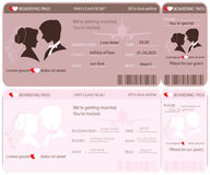 Boarding Pass Ticket Wedding Invitation Template. Stock Photos