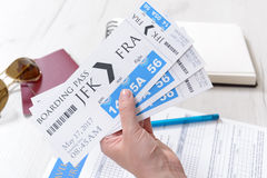 Boarding pass tickets and accesories Stock Image