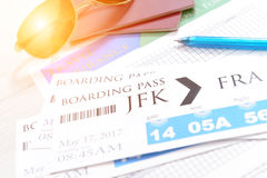 Boarding pass tickets and accesories Royalty Free Stock Photography