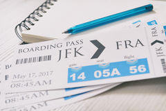 Boarding pass tickets. Airline boarding pass tickets  notebook and pen Stock Photos