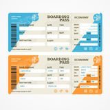 Boarding Pass Tickets Airplane Set. Vector Royalty Free Stock Photos