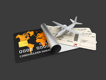 A boarding pass tickets. 3d illustration Isolated black. vector illustration