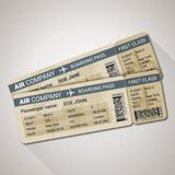 Boarding pass tickets template for a plane with passenger name and destination route. Vector illustration stock illustration