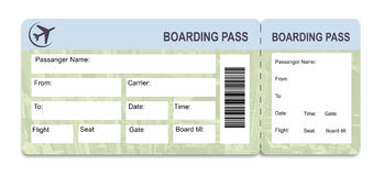 Boarding Pass To Vacation Tickets Royalty Free Stock Photography